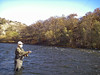 Ross with a big bend in his Spey rod