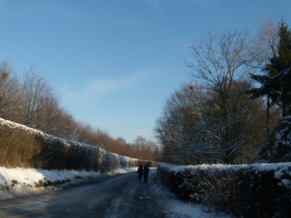 Frozen road Hever to Leigh