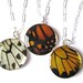Trio of real butterfly wing necklaces