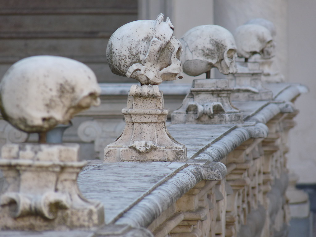 skull sculptures in Certosa di San Martino