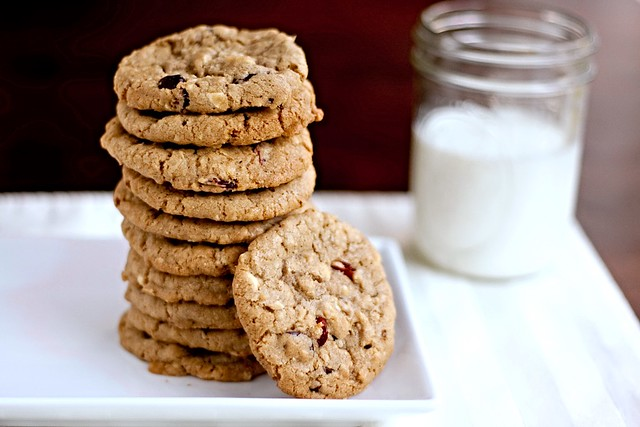 Cowboy Cookies with Cranberries and White Chocolate