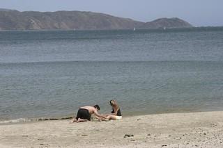 Image of Scorching Bay Beach. newzealand beach sandcastle