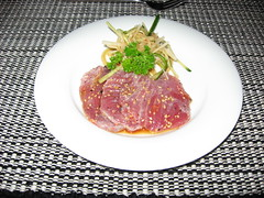 spaghetti(0.0), steak tartare(0.0), produce(0.0), steak(1.0), meat(1.0), salt-cured meat(1.0), food(1.0), dish(1.0), cuisine(1.0),