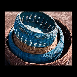 blue and brown baskets
