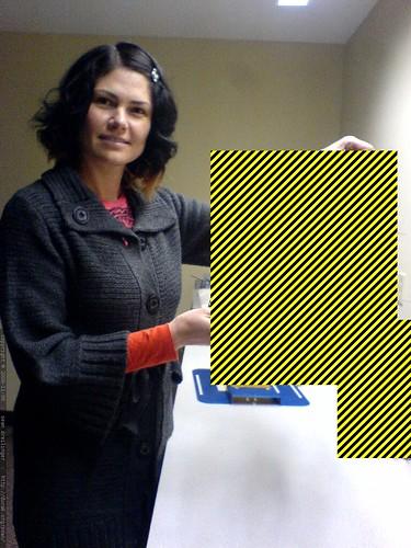 rachel showing off her favorite product prototype   DSC03213