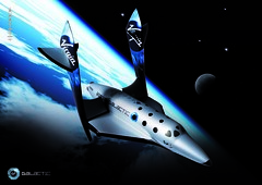 SpaceShipTwo with wings in feathered position.