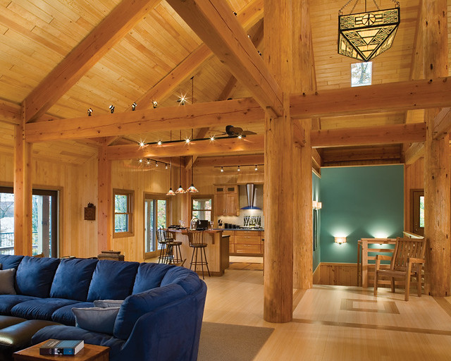 Modern timber living timber frame home great room a for Timber frame great room
