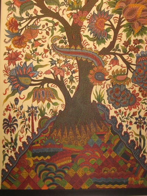 A handmade painting at a kalamkari exhibition
