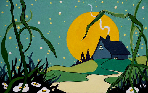 Retro Deco Storybook Moonrise Cottage