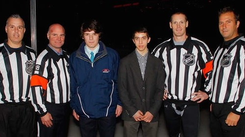 Ryan Siegel and Bobby Esposito Meet the NHL Officials Before the NJ Devils - San Jose Sharks Game