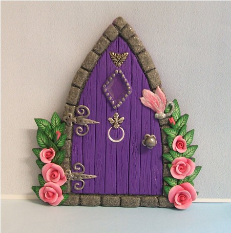 Purple gothic style fairy door with roses flickr photo for Original fairy door