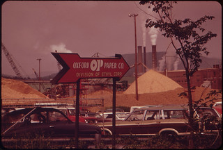 Outside the Oxford Paper Company at Rumford on the Androscoggin River 06/1973