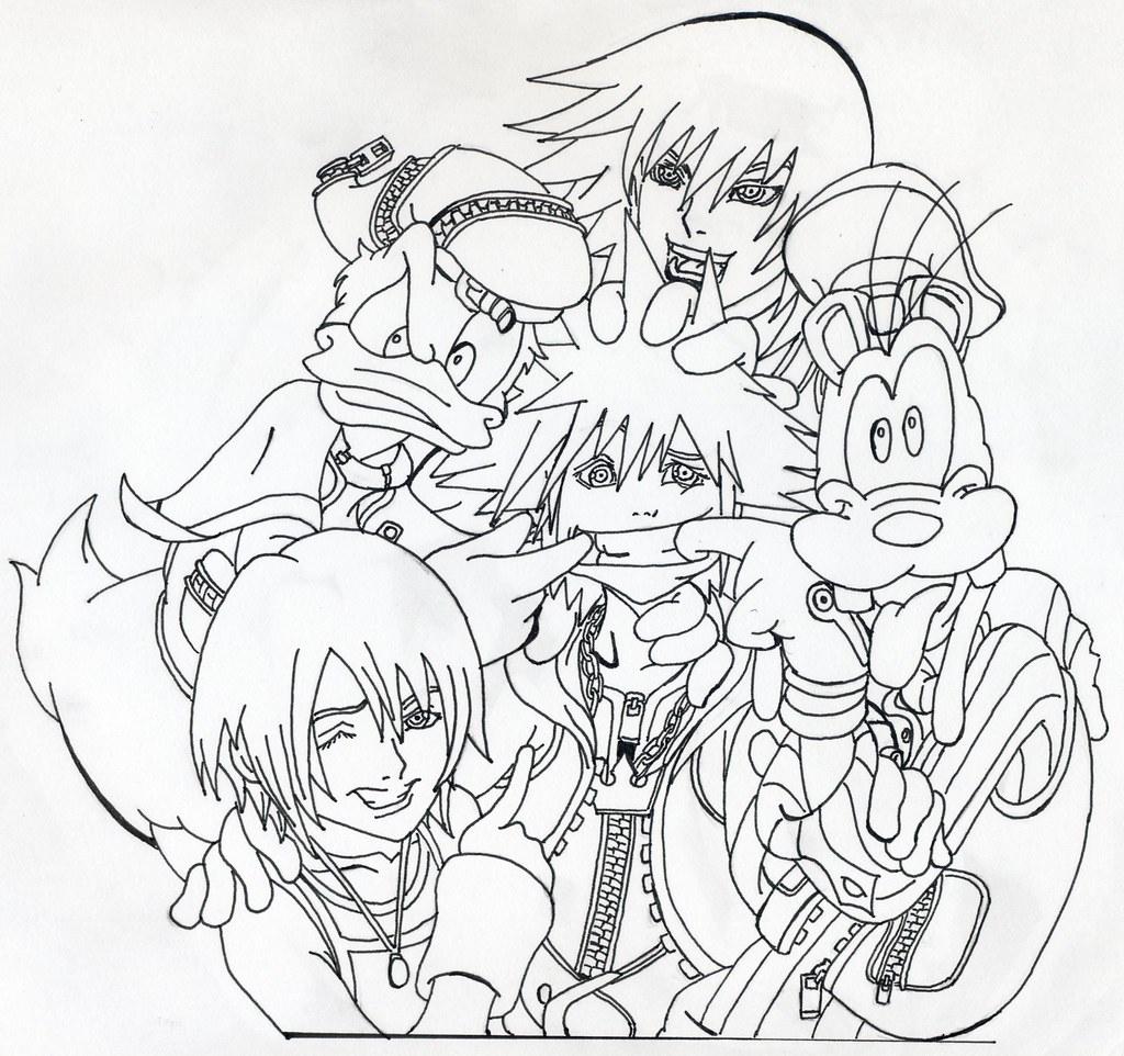 Kingdom Hearts Group Lineart