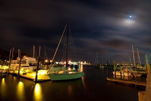 ocean longexposure moon water night clouds sailboat port river boats harbor pier nc wind fear tripod northcarolina atlantic cape southport gitzo waterway oakisland caswellbeach arcatech tokinaatx116prodx gt2531