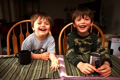 brothers having hot chocolate for breakfast    MG 1534