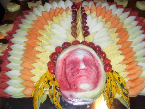 Red Indian Food Sculpture - made from melon