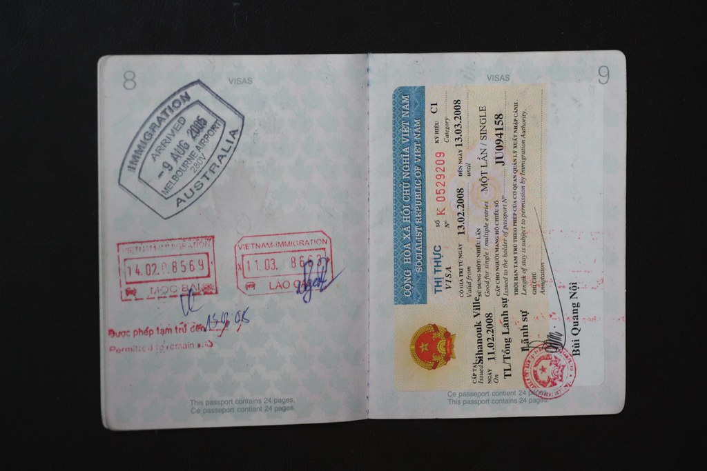 Passport visa section