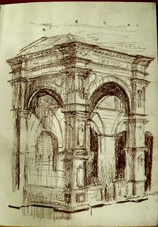 Drawing of Campanile entrance, main square, Sienna
