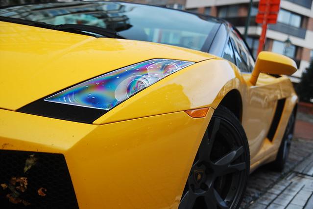 Lamborghini in the rain