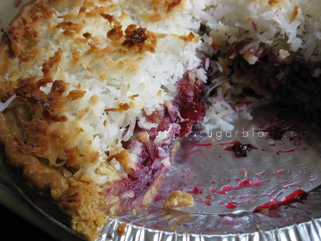 blueberry-strawberry pie w/ toasted coconut