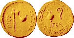 RRC 456/1 Aureus Axe culullus CAESAR DICT Lituus jug wreath ITER