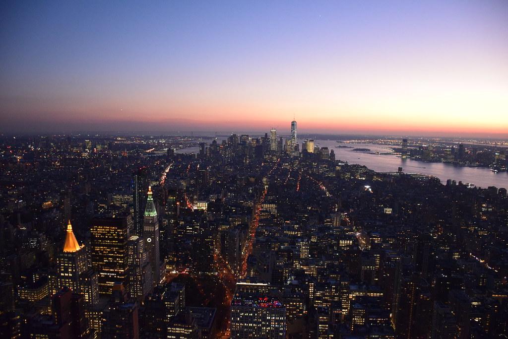 Anochecer en Nueva York desde el Empire State Building.