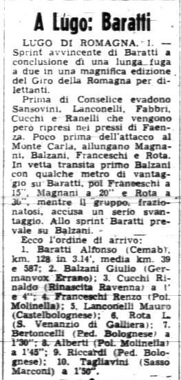 Giro della Romagna, vittoria di Alfonso Baratti, Gazzetta dello Sport del 2 giugno 1969