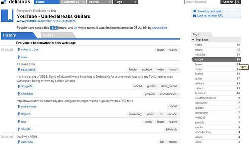 United Breaks Guitars – Delicious Statistics – 07/10/09