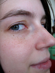 nose, freckle, face, skin, lip, head, eyelash, cheek, close-up, mouth, eyebrow, forehead, beauty, eye, organ,