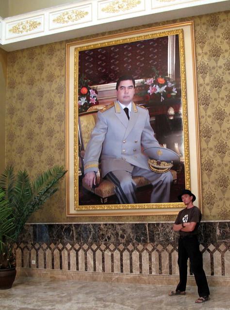 Portrait of President Gurbanguly Berdymukhammedov in hotel lobby in Awaza, Turkmenistan