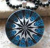 Teal Mandala-Round Glass Pendant with 18 Inch Black Ball Chain by BeansThings