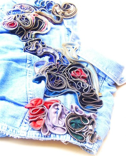 Lara Natascha DIY zipper denim shirt