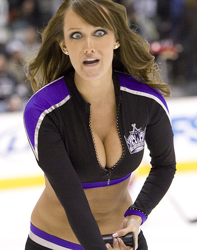 Frightened LA Kings Ice Girl