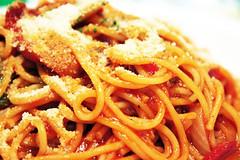 pasta(0.0), produce(0.0), pici(0.0), carbonara(0.0), italian food(1.0), spaghetti alla puttanesca(1.0), bucatini(1.0), spaghetti(1.0), spaghetti aglio e olio(1.0), pasta pomodoro(1.0), food(1.0), dish(1.0), bigoli(1.0), cuisine(1.0),