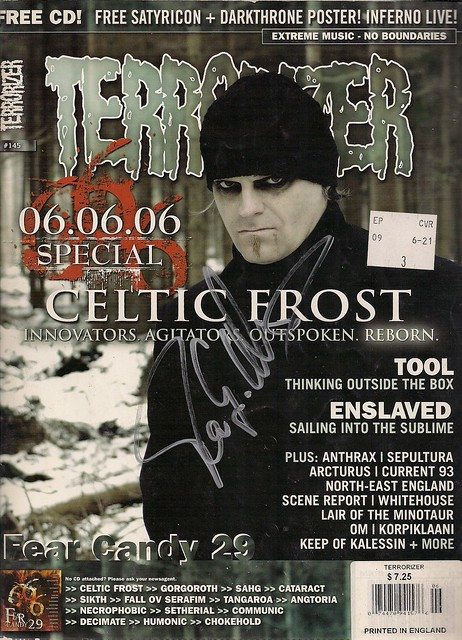 09/24/06 Celtic Frost @ Minneapolis, MN (Autographed Terrorizer Magazine)