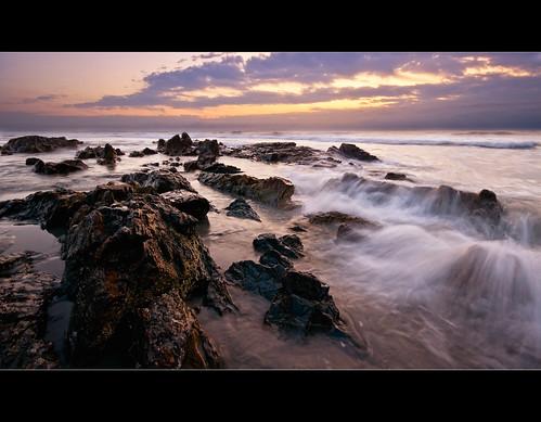 ocean sea motion beach clouds sunrise dawn sand rocks waves maine sigma wells moe 1020mm chen moe76