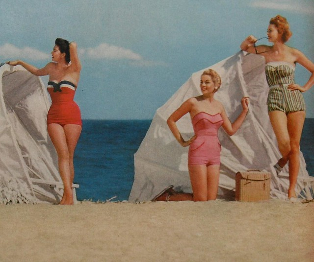 1950s women beach swimsuits fashion photo vintage 2