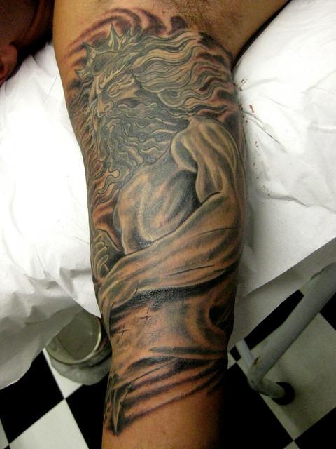 Tattoo Poseidon and Shark Tatuagem Netuno e Tubarão