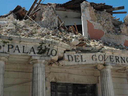 A building damaged by the April 9, 2009 quake.