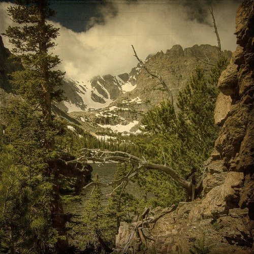 trees sky lake snow mountains clouds forest rocks view cliffs trail rmnp legacy textured layered vintagephoto fauxvintage justimagine kartpostal lochlake expressyourselfaward
