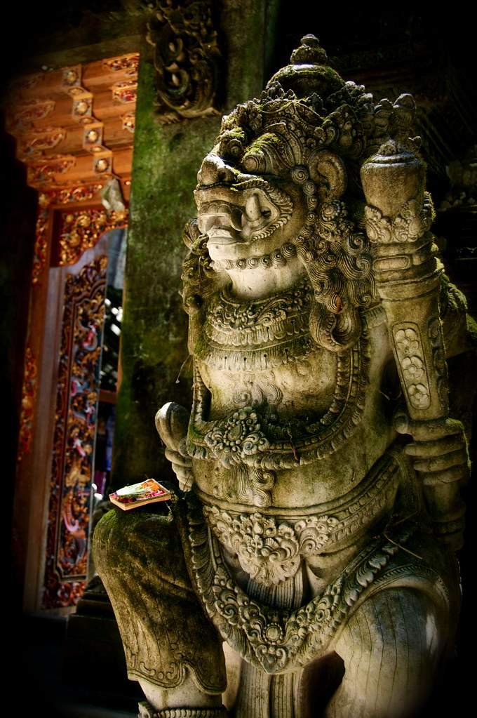 A Balinese Guardian Protects A Temple In Ubud