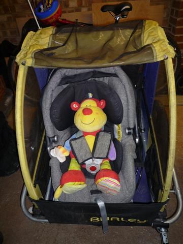 Baby Bike Trailer >> bike trailer with car seat | Little monkey sits in car seat … | Flickr