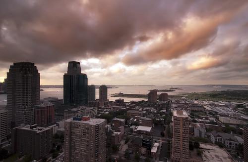 nyc newyorkcity cloud newyork skyline brooklyn sunrise geotagged dawn newjersey jerseycity cityscape view hudsonriver hdr goldmansachs mudpig stevekelley