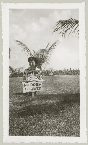 Girl with no dogs sign