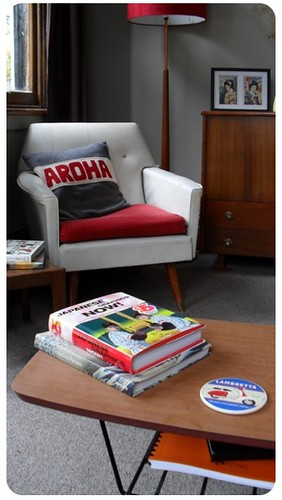 Coffee table and armchair