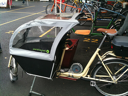 Boxbike with aluminum cabin and new canopy made in Portland