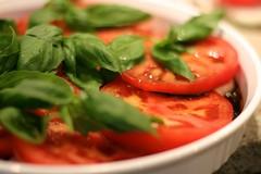 caprese salad(0.0), plant(0.0), produce(0.0), vegetable(1.0), tomato(1.0), food(1.0), dish(1.0), basil(1.0), cuisine(1.0),