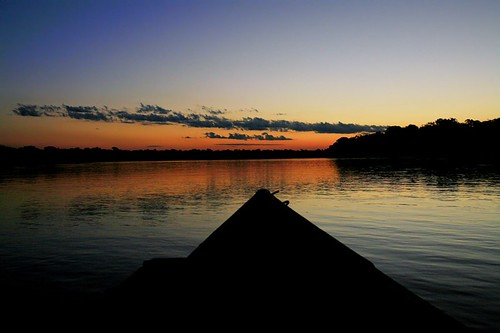 sunset peru southamerica river amazonia madrededios