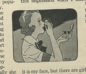 Illustration 1930s girl powdering her nose