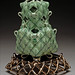 Small photo of Green Leaf Vase with Trivet